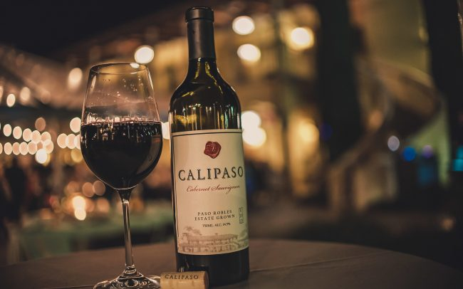 CaliPaso glass and bottle of Cabernet Sauvignon Paso Robles Estate Grown