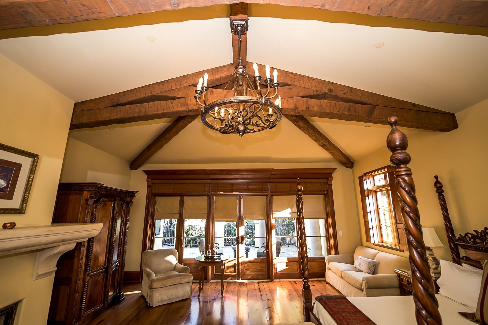 Ceiling rafters with chandelier